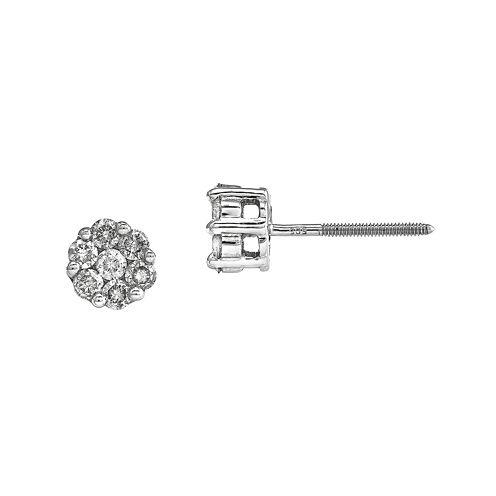 5/8 CT. T.W. Diamond Cluster 14K White Gold Earrings