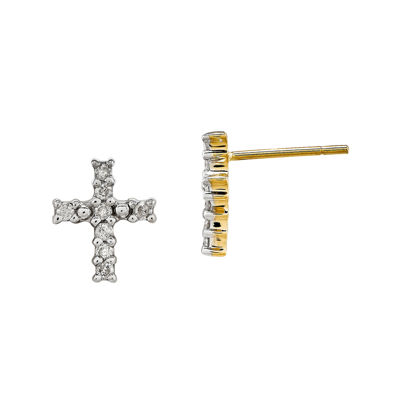 1/5 CT. T.W. Diamond 14K Yellow Gold Cross Earrings