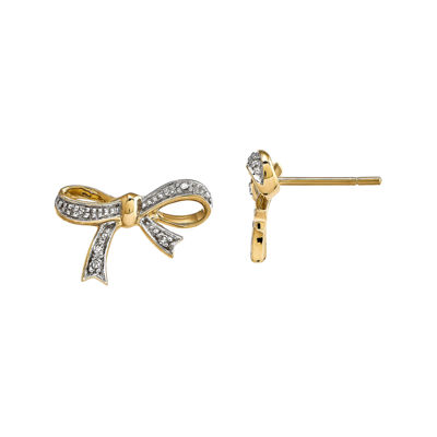 Diamond Accent 14K Yellow Gold Bow Earrings
