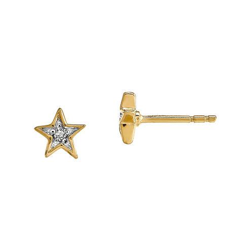 Diamond Accent 14K Yellow Gold Star Earrings