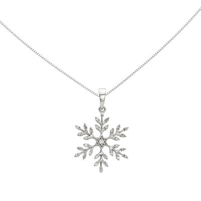 1/7 CT. T.W. Diamond 14K White Gold Snowflake Pendant Necklace