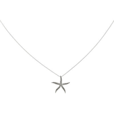 1/8 CT. T.W. Diamond 14K White Gold Starfish Pendant Necklace