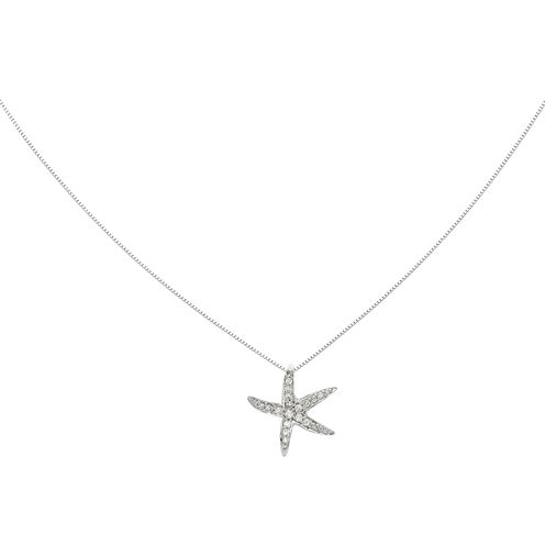 1/4 CT. T.W. Diamond 14K White Gold Starfish Pendant Necklace