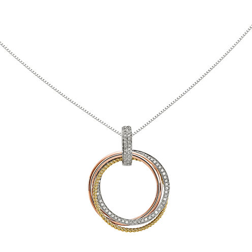 1/6 CT. T.W. Diamond 14K Tri-Color Gold Moveable Circle Pendant Necklace