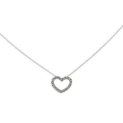 Diamond Accent 14K White Gold Heart Pendant Necklace