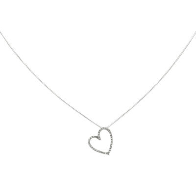 1/10 CT. T.W. Diamond 14K White Gold Vintage Heart Pendant Necklace