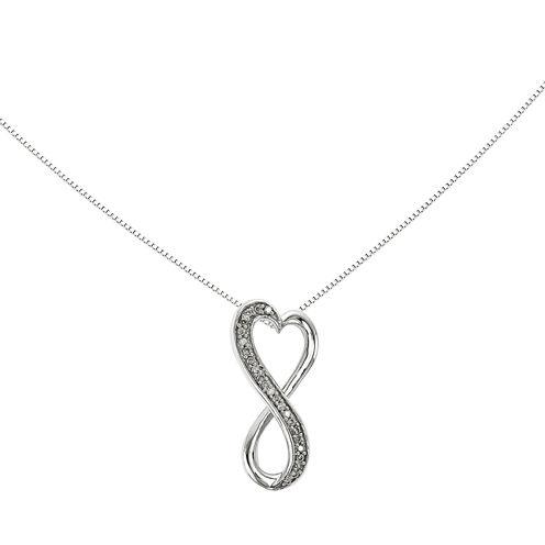 1/10 CT. T.W. Diamond14K White Gold Freeform Heart Pendant Necklace