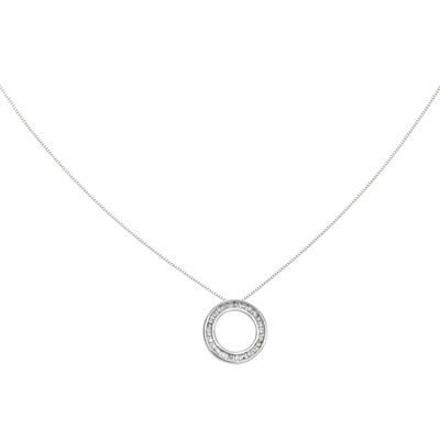 1/4 CT. T.W. Diamond 14K White Gold Circle Pendant Necklace