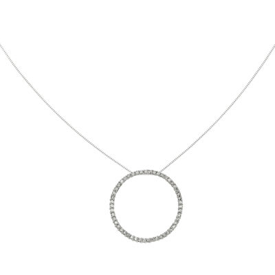 3/4 CT. T.W. Diamond 14K White Gold Circle Pendant Necklace