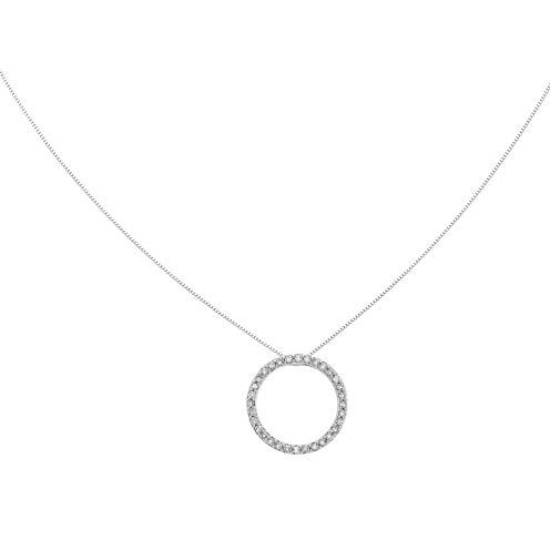 1/2 CT. T.W. Diamond 14K White Gold Circle Pendant