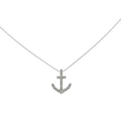 1/10 CT. T.W. Diamond 14K White Gold Anchor Pendant