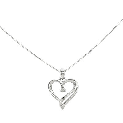 Diamond Accent 14K White Gold Heart Pendant