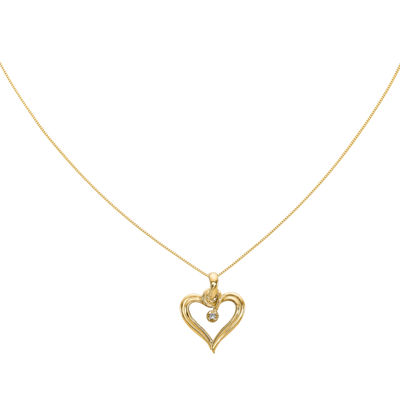 Diamond Accent 14K Yellow Gold Heart Pendant Necklace