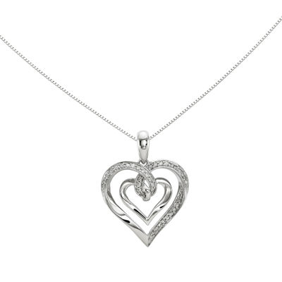 1/6 CT. T.W. Diamond 14K White Gold Heart Pendant