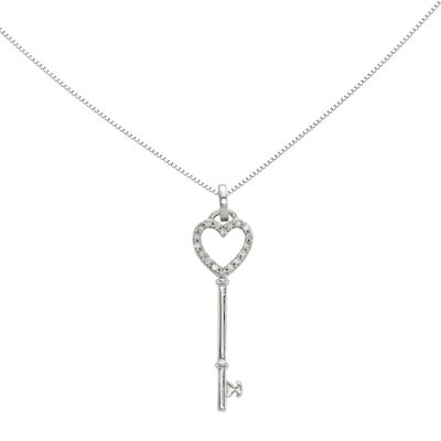 1/10 CT. T.W. Diamond 14K White Gold Heart Key Pendant
