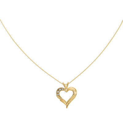 Diamond Accent 14K Yellow Gold Heart Pendant