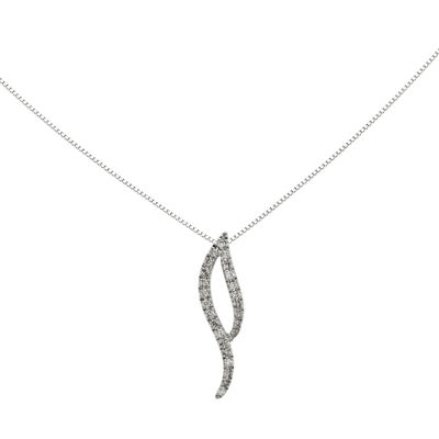 1/6 CT. T.W. Diamond 14K White Gold Pendant Necklace