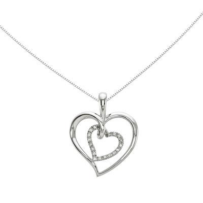 1/10 CT. T.W. Diamond 14K White Gold Double Heart Pendant Necklace