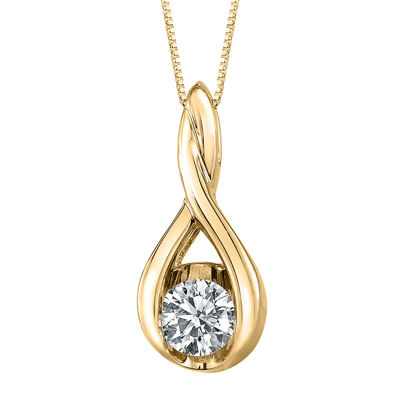 Sirena® 1/8 CT. Diamond 14K Yellow Gold Infinity Pendant Necklace