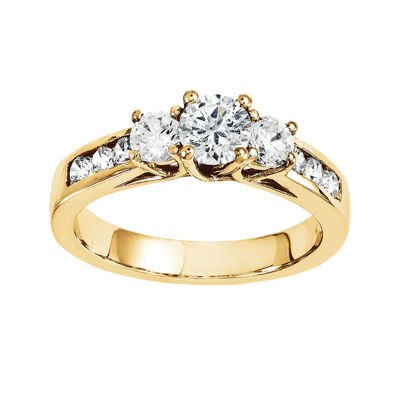 1/3 CT. T.W. Diamond 14K Yellow Gold Channel Set 3-Stone Ring