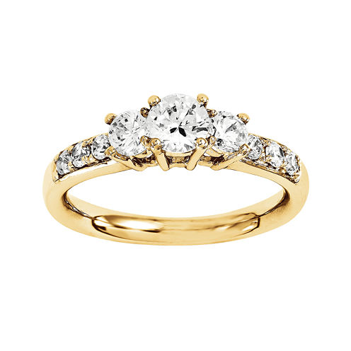 7/8 CT. T.W. Diamond 14K Yellow Gold  Prong Set 3-Stone Engagement Ring