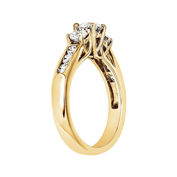 7/8 CT. T.W. Diamond 14K Yellow Gold  Channel Set 3-Stone Engagement Ring