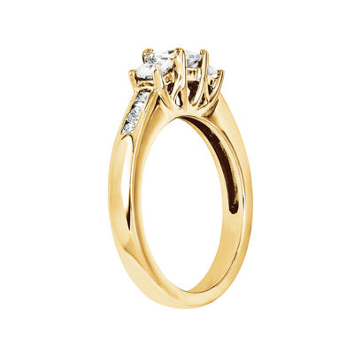 7/8 CT. T.W. Diamond 14K Yellow Gold 3-Stone Engagement Ring