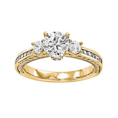 3/4 CT. T.W. Diamond 14K Yellow Gold 3-Stone Engagement Ring