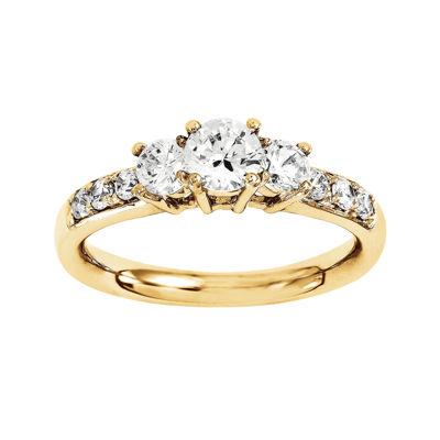 1 1/7 CT. T.W. Diamond 14K Yellow Gold 3-Stone Engagement Ring