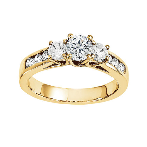 1 1/3 CT. T.W. Diamond 14K Yellow Gold  3-Stone Engagement Ring