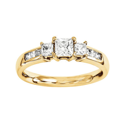 1 3/8 CT. T.W. Diamond 14K Yellow Gold 3-Stone Engagement Ring