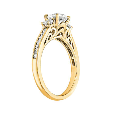 1 1/5 CT. T.W. Diamond 14K Yellow Gold 3-Stone Engagement Ring