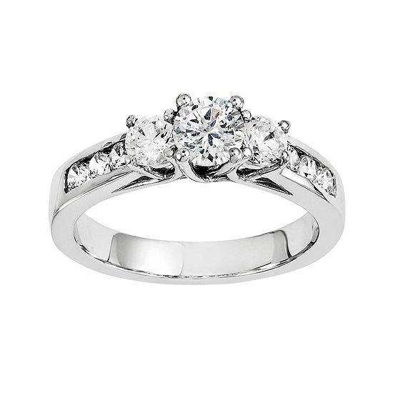 1/3 CT. T.W. Diamond 14K White Gold  Channel Set 3-Stone Ring