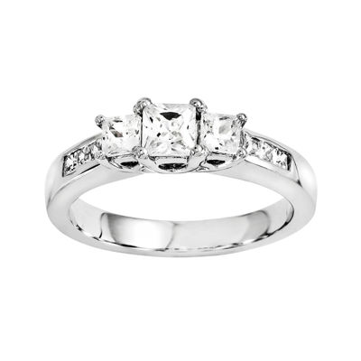 3/8 CT. T.W. Diamond 14K White Gold 3-Stone Ring