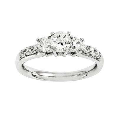 5/8 CT. T.W. Diamond 14K White Gold Prong Set 3-Stone Ring