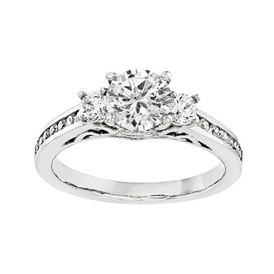 1/2 CT. T.W. Diamond 14K White Gold 3-Stone Engagement Ring