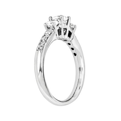 7/8 CT. T.W. Diamond 14K White Gold  Prong Set 3-Stone Engagement Ring