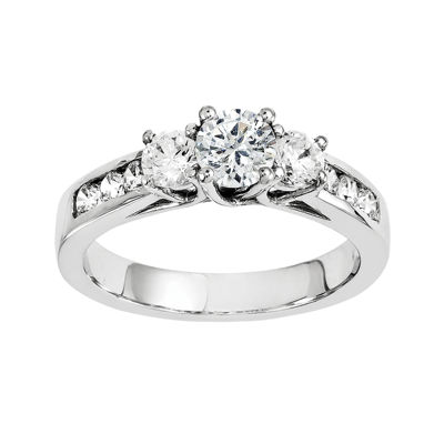 7/8 CT. T.W. Diamond 14K White Gold  Channel Set 3-Stone Engagement Ring