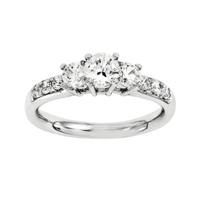 1 1/7 CT. T.W. Diamond 14K White Gold 3-Stone Engagement Ring