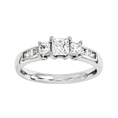 1 3/8 CT. T.W. Diamond 14K White Gold 3-Stone Engagement Ring