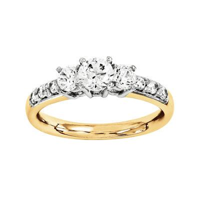 1/3 CT. T.W. Diamond 14K Gold 3-Stone Ring