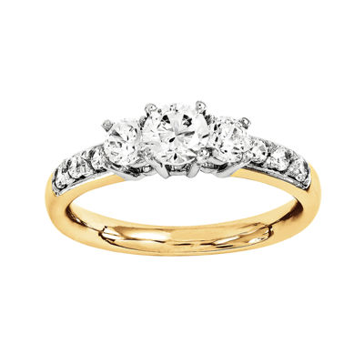 1 1/7 CT. T.W. Diamond 14K Gold 3-Stone Engagement Ring