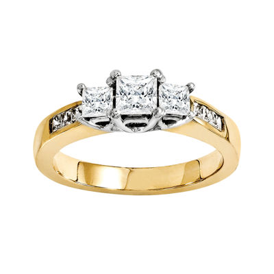 2 CT. T.W. Diamond 14K Two-Tone Gold 3-Stone Engagement Ring