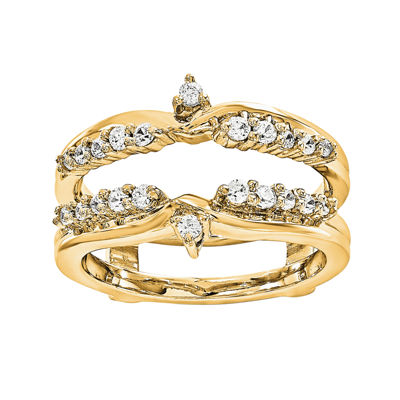1/3 CT. T.W. Diamond 14K Yellow Gold Ring Guard