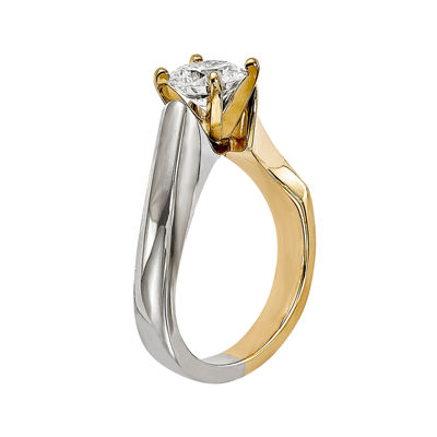 1/2 CT. Diamond 14K Two-Tone Gold Solitaire Ring