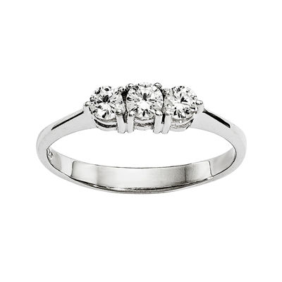 1/3 CT. T.W. Diamond 14K White Gold 3-Stone Engagement Ring