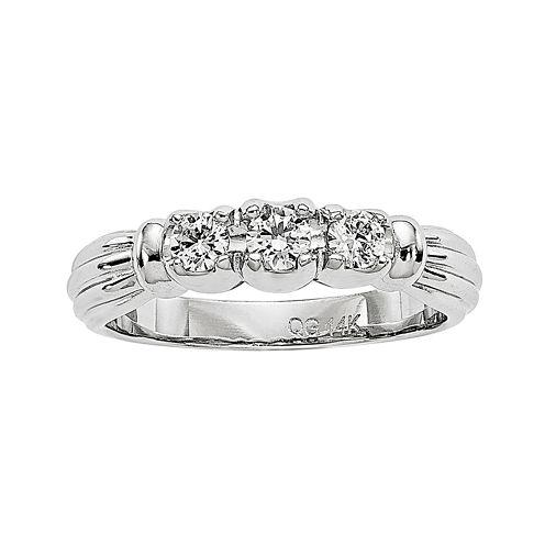 1/3 CT. T.W. Diamond 14K White Gold 3-Stone Engagement Ring