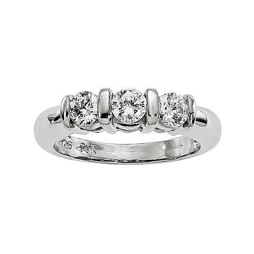 5/8 CT. T.W. Diamond 14K White Gold 3-Stone Engagement Ring