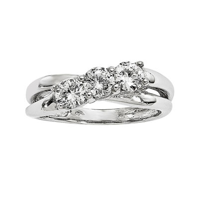 7/8 CT. T.W. Diamond 14K White Gold 3-Stone Engagement Ring