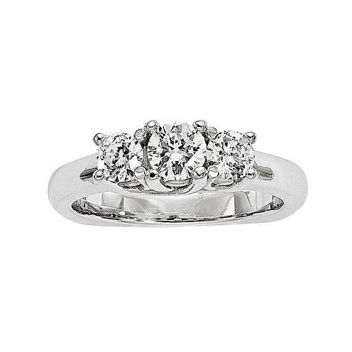 7/8 CT. T.W. Diamond 14K Yellow Gold 3-Stone Engagement Ring